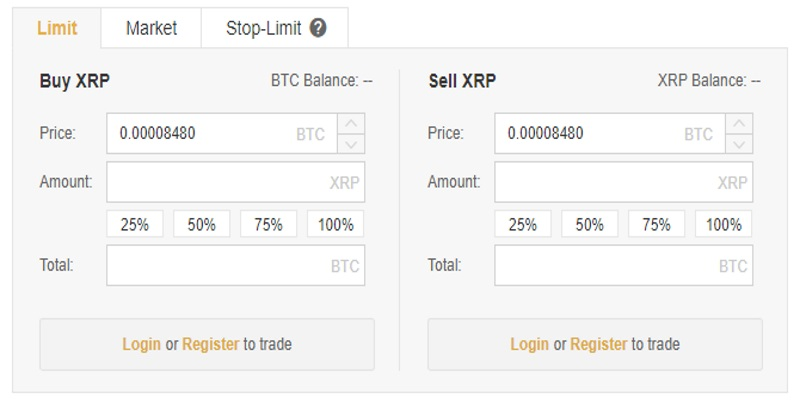 On the cryptocurrency exchange website you will want to locate the XRP  section on the market. Click on the icon and then choose the 'buy' option.